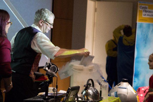 Andrew Hanson with liquid nitrogen