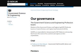Screenshot of GSE governance page