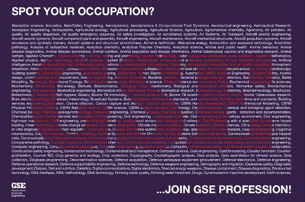 A list of GSE occupations