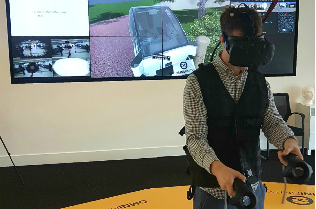 James using VR to drive an autonomous car