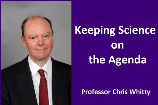 Chirs Whitty appears along side the writing: Keeping Science on the Agenda - Professor Chris Whitty