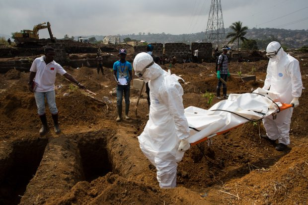 A safe and dignified burial in West Africa during the 2014 Ebola outbreak.
