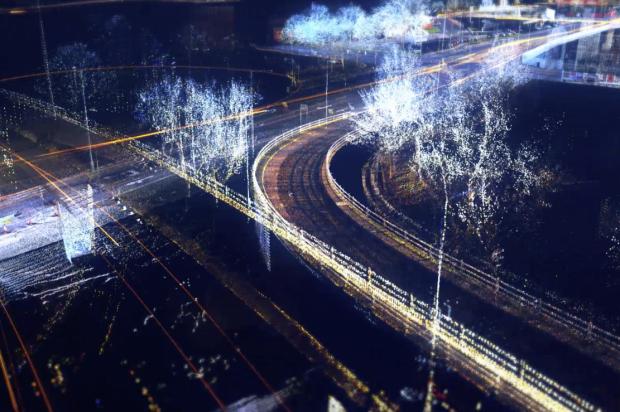 futuristic picture of roads with fluorescent trails