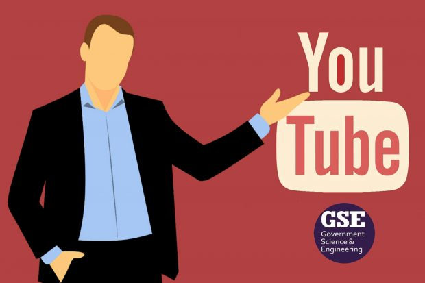 Man points to YouTube symbol. Below is an image of the GSE Government Science and Engineering YouTube Channel.
