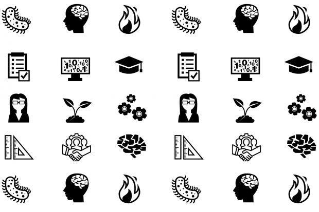 Various icons relating to science and engineering