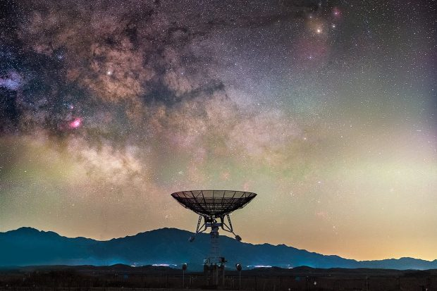 Satellite facing the stars