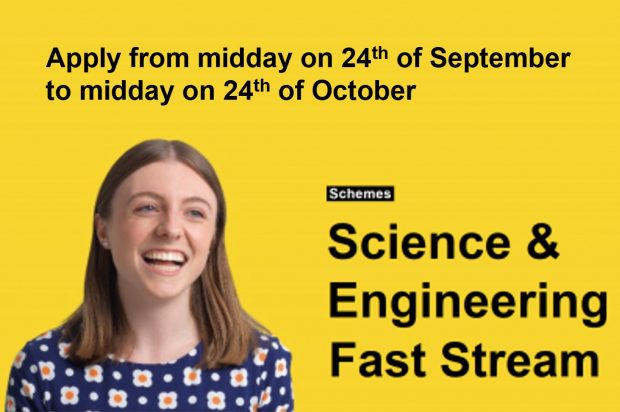"image shows a girl with the words "" Apply from midday on 24th of September to midday on 24th of October"" "" Science and Engineering Fast stream"""