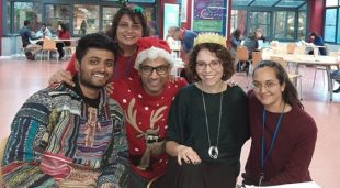 Image shows people within Christmas clothing